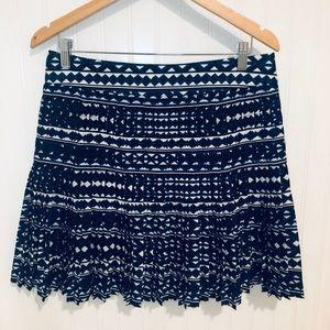 J. Crew blue & white ikat print pleated skirt 8